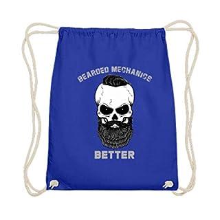 generisch Bearded Mechanics Better - Totenkopf mit Bart, Schnäuzer und Haaren - Baumwoll Gymsac -37cm-46cm-Royales Blau