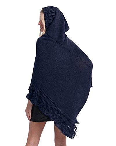 SUNNYME Damen Poncho Cape Schal Shawl Pullover Strickjacken Hooded Gestrickt Wrap Tops Marine