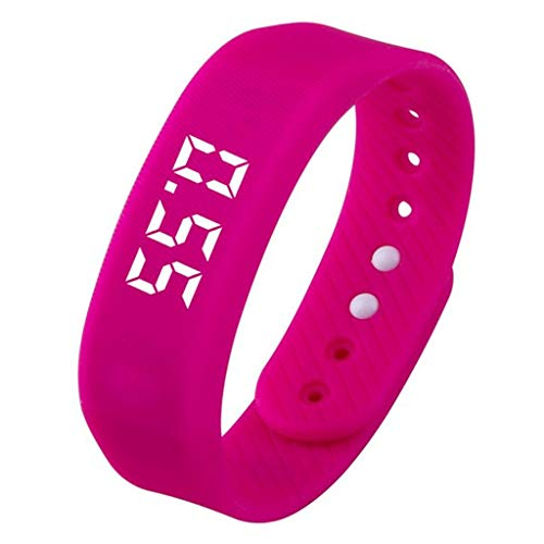 AZWE Ältere Kinder 3D-Schrittzähler Multifunktions-Laufuhr Walking Counter Laufen Smart Pedometer Million Step Smart Watch,rot