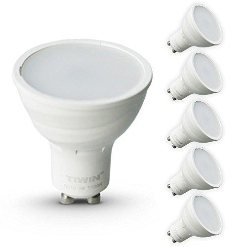 5er Pack TIWIN GU10 LED A+ Lampe, ersetzt 50W, Kaltweiss (5700K), 420 Lumen, 5W, 110 Grad, 14x SMD2835