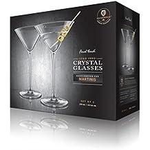 Final Touch 2er Set Gläser 100% Lead-free Crystal Martinigläser Cocktail Gläser Kristallglas Hergestellt mit DuraSHIELD Titanium verstärkt für erhöhte Haltbarkeit Martini Cocktailglas Set 250ml - Pack of 2