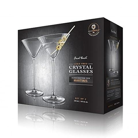 Final Touch 2er Set Gläser 100% Lead-free Crystal Martinigläser Cocktail Gläser Kristallglas Hergestellt mit DuraSHIELD Titanium verstärkt für erhöhte Haltbarkeit Martini Cocktailglas Set 250ml - Pack of
