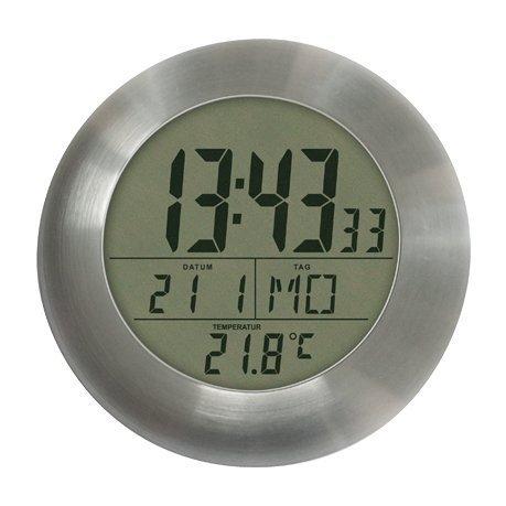 Badezimmer-Uhr mit Datum, Thermometer, CHRONO ZP14 für Wand oder Schreibtisch oder Spiegel, Farbe Brushed Aluminum