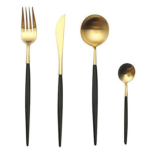 Aolvo Set de couverts 4 pièces en acier inoxydable 18/10 brossé noir et or avec fourchette, cuillères et couteau pour une utilisation quotidienne ou en voyage, Acier inoxydable, Noir/doré, Taille unique