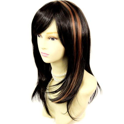 Atemberaubende abgestuftes Lange Gerade Perücke schwarz mit Dark Auburn Damen Perücken mit Kopf Haut Nachahmung