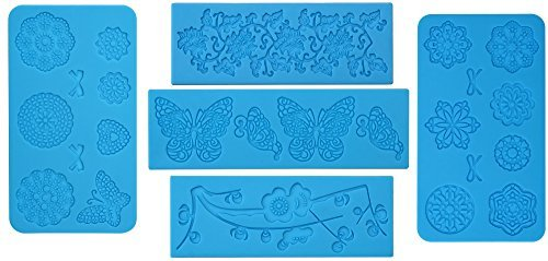 5pc Cake Decorating Molds- Premium Silicone Decoration Molds for Sugarcraft, Fondant, Gumpaste, Resin Mold, Lace Embossing Impression DIY Cake Fondant Decorating Mold-(set of 5)- Blue