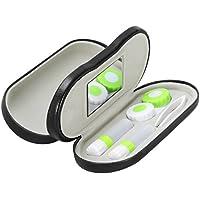 ROSENICE 2 in 1 Kontaktlinsenbehälter Brillenetui für Zuhause und Reisen (Schwarz)