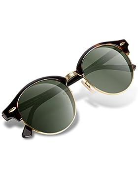 Gafas de sol vintage con cristal redondo para mujeres con lente de protección UV de Wenlenie W4246.