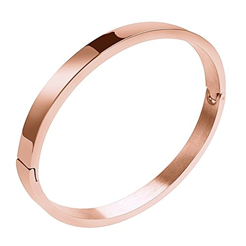 Moneekar Jewels Plain Polished Stainless Steel Classical Rose Gold Plated Kada Bracelets for Mens Boys