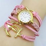 XKC-watches Relojes de Mujer, Infinito Barco Ancla Cuero Banda de Tejido Cuarzo analógico Reloj (Colores Surtidos), Rosa, For Lady-One Size