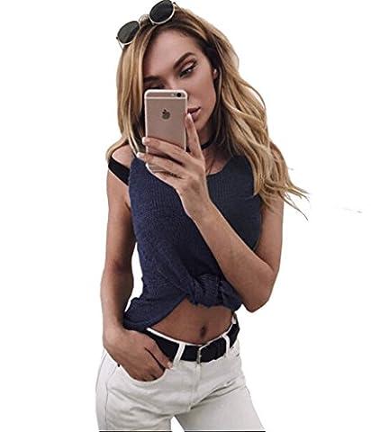 Longwu Womens Fashion Waistcoat Sleeveless Pure Color Loose Knit Sweater Vest Navy Blue