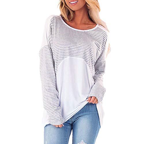 Xmiral Bluse Damen Streifen Patchwork Rückenfrei Hemd Elegant Tops Shirt Pullover Slim Fit Outdoor Sweatshirts Sportbekleidung(Grau,M) (Georgette-bluse Ärmelloses)