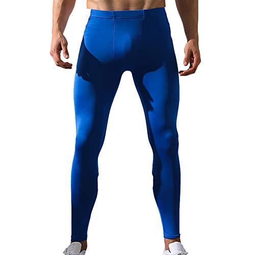 Cebbay Pantalones de Yoga para Hombres Pantalones de Entrenamiento elásticos Leggings, Gimnasio Corriendo, Pantalones elásticos Pantalones Estampados Mallas(Azul, Medium)