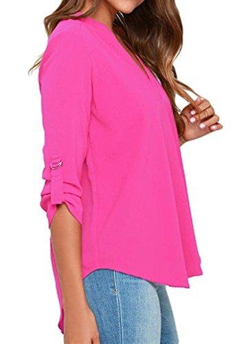 Cfanny - Chemisier - Asymétrique - Uni - Manches Courtes - Femme Long Sleeve Rosy