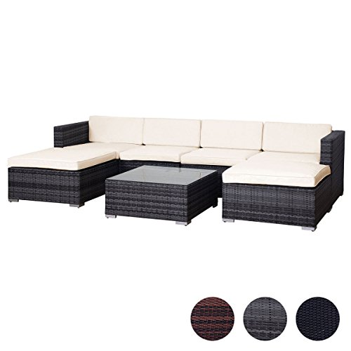 SVITA Lugano Poly Rattan Lounge Garten-Set XXL Sofa-Set Garnitur Gartenmöbel Couch-Set (XXL, Grau) (Metall-rattan-körbe)