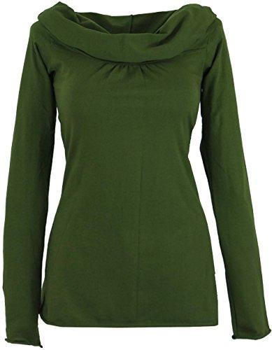 Guru-Shop Hoody Boho Chic, Langarmshirt mit Schalkragen, Damen, Olive, Baumwolle, Size:M/L (40), Pullover, Longsleeves & Sweatshirts Alternative Bekleidung