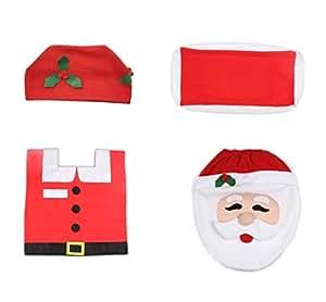 Ohuhu® Set per Decorazione Copriwater di Babbo Natale, Porta Carta Igienica e Tappeto da Toiletta, Addobbi Festa Natale