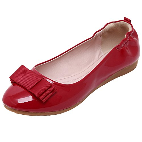 Oasap Women's Round Toe Bow Foldable Ballet Shoes Red