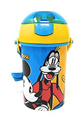 HMI Original Licensed Disney, Marvel & Nickelodeon Character Polypropylene Pop Up Canteen Sipper Bottle / Water Bottle, BPA free, 450 ml (Mickey Mouse)