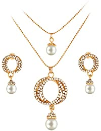 Shining Diva Gold Plated Fancy Party Wear Crystal Pearl Necklace Jewellery Set / Pendant Set With Earrings For...