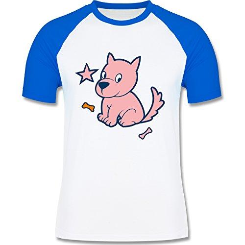 Hunde - Hund - zweifarbiges Baseballshirt für Männer Weiß/Royalblau
