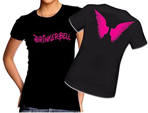 Blickfang Drinkerbell mit Flügel | Disney | TRINKERBELL | Fee |Sprücheshirt | Funshirt | Mädchen, Damen, Ladys, Girly Shirt| Funshirt | Sprücheshirt | Schwarz, Weiss, Pink | XS-XXL (M, Schwarz)