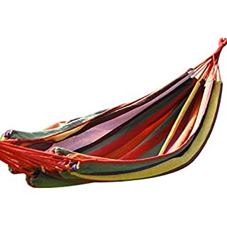 Adeco [Hot Season, Hot Deal Naval-Style Cotton Fabric Canvas Hammock Tree Hanging Suspended Outdoor Indoor Bed Antigua Color, 63 Wide