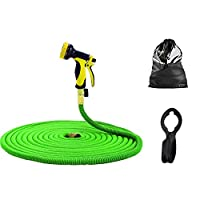 HiveNets Expandable Garden Hose SetMagic Flexible Lawn Water Hose with 9 Pattern Spray Nozzle Gun and Free Storage Bag and Free Hanger (Green, 50ft)