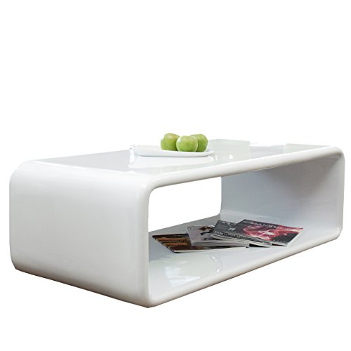 Couch-Tisch weiß Hochglanz 120x60 cm aus Fiberglas recht-eckig | Lekaro | Schlichter Wohnzimmer-Tisch aus einem Guss im Retro-Look mit abgerundete Kanten 120cm x 60cm