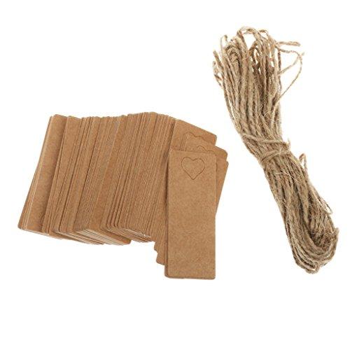 n Kraftpapier Geschenkanhänger Etikett Hängen Karten mit Loch Herz Deko Set/100pcs (Weihnachts-etiketten)