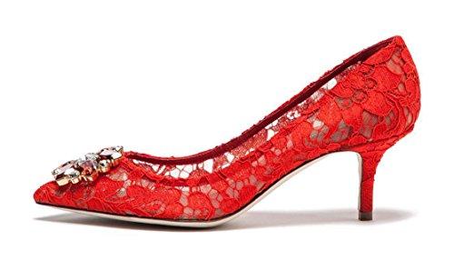 uBeauty Damen Stilettos Hell Spitzen Pumps Luxus High Heels Hochzeitsschuhe Spitze Zehen Slip On Sandalen Rot