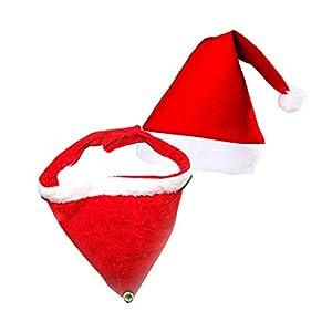 Robelli Merry Xmas Coffret Cadeau pour Petits Chiens (6 Chapeaux de Père Noël, 6 Colliers Bandana en Velours)