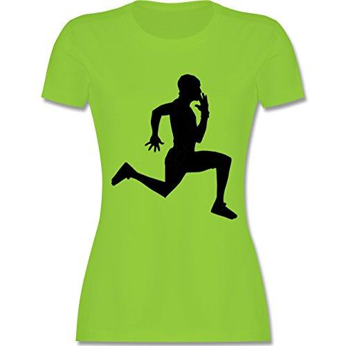 Laufsport - Läufer - tailliertes Premium T-Shirt mit Rundhalsausschnitt für Damen Hellgrün