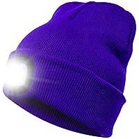 Katurn 4 LED Deportes Al Aire Libre Que Se Calientan Sombrero De Punto Recargable Resistente Al Frío Tapa del Faro para Correr, Cazar, Acampar, Asar A La Parrilla