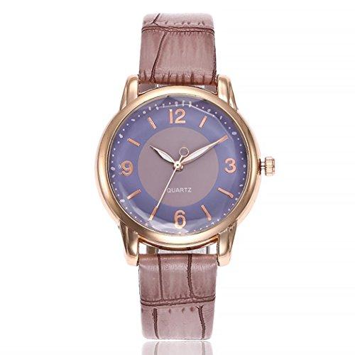 Uhren DELLIN V245 Damen Beiläufige Bælte Quarz Edelstahl Band Marmorband Uhr analoge Armbanduhr (Violett)