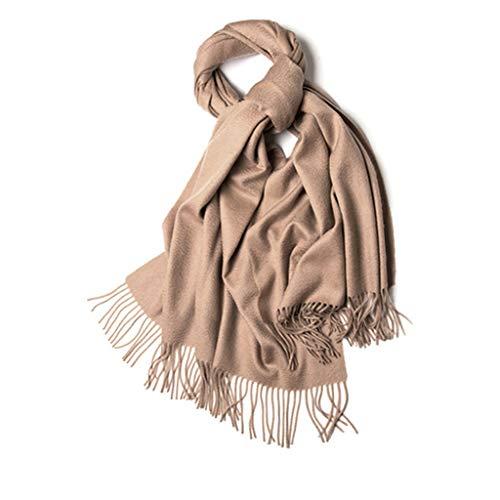 Laine D'hiver Couleur Unie Longue Section Épaisse Châle Double Usage Automne Chaud Bavoir Sauvage Exquise Boîte Cadeau (Color : Brown)