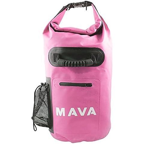 Mava Sport impermeabile borsa con tasca custodia e tracolla per barca, trekking, Rafting, campeggio, pesca, snowboard, Spiaggia e sport acquatici, unisex, Pink, 15 L