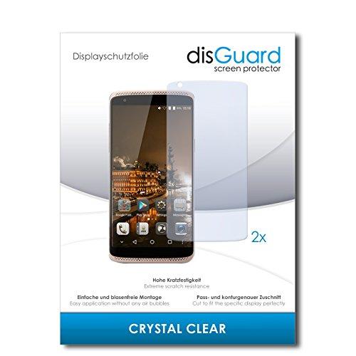 disGuard® Displayschutzfolie [Crystal Clear] kompatibel mit ZTE Axon Mini Premium Edition [2 Stück] Kristallklar, Transparent, Unsichtbar, Extrem Kratzfest, Anti-Fingerabdruck - Panzerglas Folie, Schutzfolie