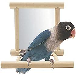 Juguete Columpio de Aves Jaula de Madera de Loro Juguete de Madera para Colgar Pájaros con Espejo, Mejor para Loros, Pericos, Cacatúas y Cockatiels