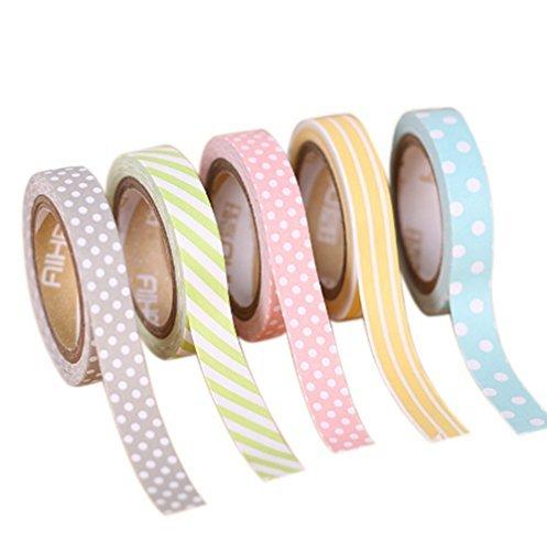 WRITIME 8mmx5m 5er Set Washi Dekoband Masking Tape -