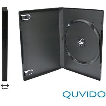 50 QUVIDO Boitier DVD Noir Simple 1 CD/DVD 14mm