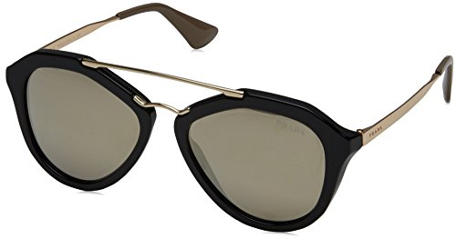 Prada Damen 0PR12QS 1AB1C0 54 Sonnenbrille, Schwarz (Black/Light Brown Gold),