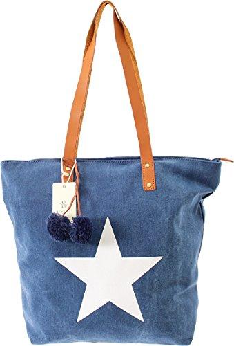 Shopper Canvas-Tasche Blogger Schultertasche Canvas Damen Handtasche Schultertasche Umhängetasche Henkeltasche (Olive) Blau