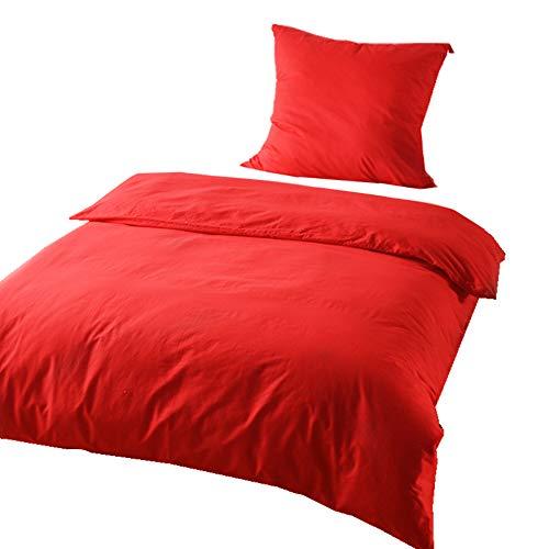 KEAYOO Bettwäsche Rot 135x200 cm Bettbezug + 80x80 cm Kissenbezug 100% Baumwolle mit Reißverschluss 2 teilig - Rot Bettbezug