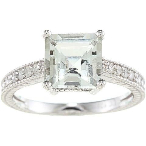 Stile Vintage, in argento Sterling, con ametista verde e diamanti, 1/5-Anello TDW)