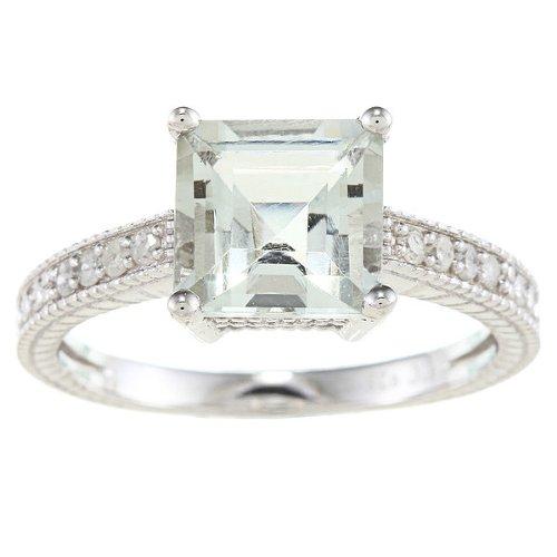 Stile Vintage, in argento Sterling, con ametista verde e diamanti, 1/5-Anello TDW), Argento, 14,5, cod. R046GRGAM-sz7.5