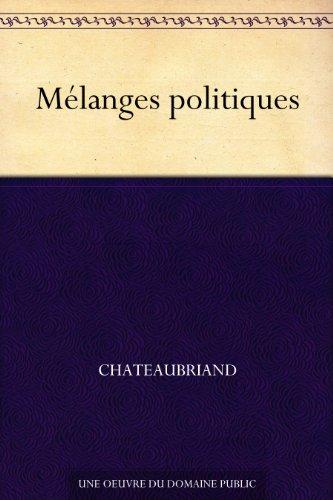 Couverture du livre Mélanges politiques