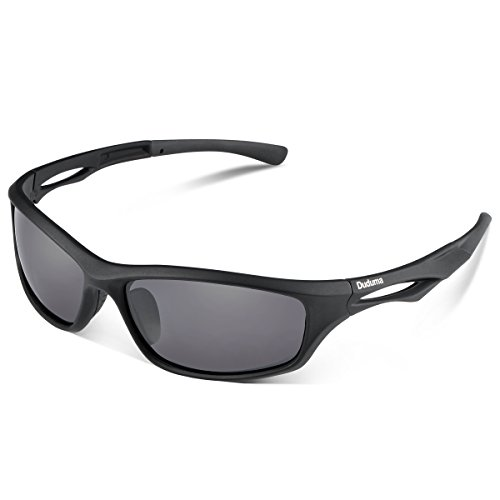 Duduma Polarised Sports Mens Sunglasses for Ski Driving Golf Running Cycling Tr90 Superlight Frame Design for Mens and Womens (black matte frame with black lens)
