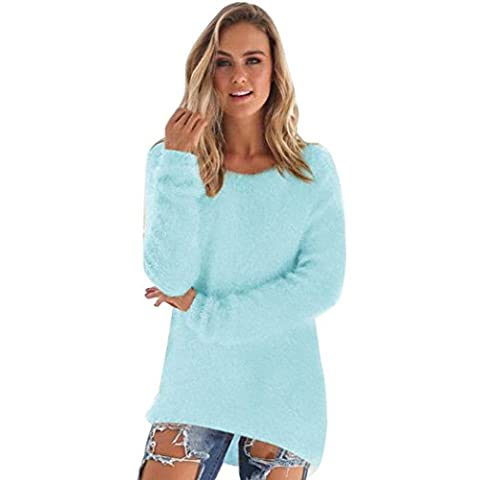 V-Neck Pullover Lady-Fit Basic Oberteil Top Longsleeve Klassisch Loose Langarmshirt Sweater Sweatshirt Stretch