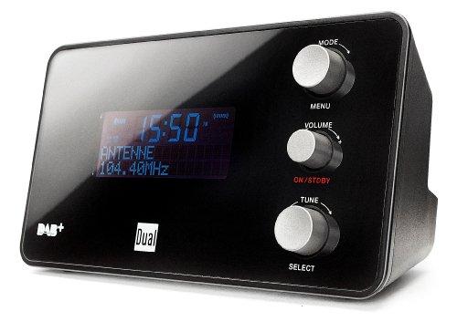 Dual DAB CR 25 Radiowecker (DAB+/ UKW-Radio, Senderspeicherfunktion, Snooze-Funktion, 2 Weckzeiten, Sleeptimer, Datumsanzeige, Kopfhöreranschluss) schwarz
